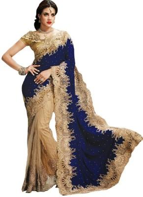 Aksh Fashion Self Design Fashion Velvet, Net Saree(Beige)