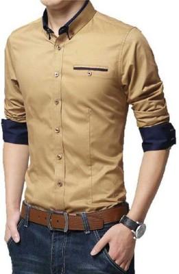 n t fashion Men Solid Casual Gold Shirt