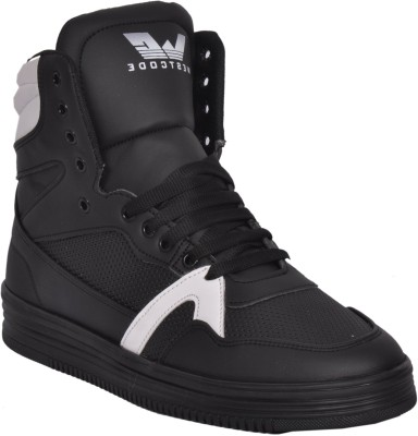 West Code Westcode Mens Boots Synthetic leather High Top Casual Sneaker Online Shoes 9017 -White-Black-7 Basketball Shoes For Men(Black)