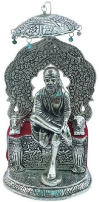 DreamKraft Oxidized White Metal Sai Baba Showpiece Idol For Home Decor Gift Item Decorative Showpiece  -  36 cm(Aluminium, Silver)