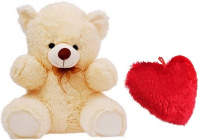 DMGC Soft Teddy Combo Of Stuffed Spongy Hugable Cute Teddy Bear Cream Color 58 CM & Soft Heart Pillow 24 CM For Someone Special Red Color  - 58 cm(Multicolor)  available at flipkart for Rs.549