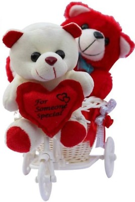 Kashish Trading Company Cute Red & White Couple Teddy on tricycle - 20 cm (Red, White  - 20 cm(Red, White)  available at flipkart for Rs.599
