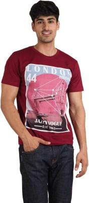 Jazzy Vogue Graphic Print Men's Round Neck Maroon T-Shirt