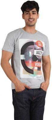 Jazzy Vogue Graphic Print Men's Round Neck Grey T-Shirt