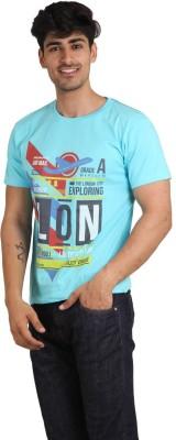 Jazzy Vogue Graphic Print Men's Round Neck Light Blue T-Shirt