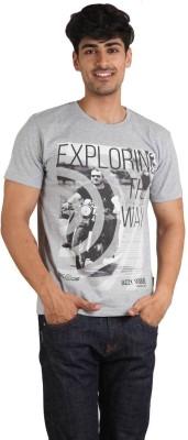 Jazzy Vogue Solid, Graphic Print Men Round Neck Grey T-Shirt