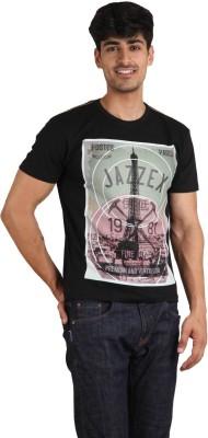 Jazzy Vogue Graphic Print Men's Round Neck Black T-Shirt