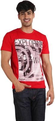 jazzy vogue Printed Men's Round Neck Red T-Shirt