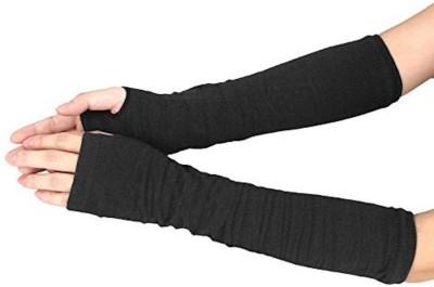 Gugzy FingerlessHandWarmerBlack Wool Arm Warmer(Black)