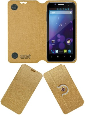 ACM Flip Cover for Domo Ntice F12(Golden, Cases with Holder, Artificial Leather)