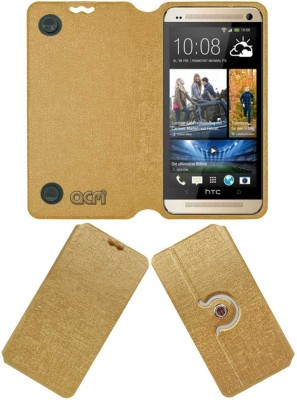 ACM Flip Cover for HTC One M7(Golden, Cases with Holder, Artificial Leather)