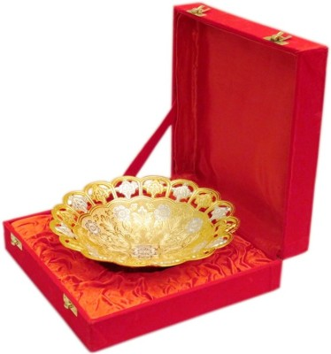 deva group of industries Handmade Brass Gold Plated Swan Shapped Bowl Spoon Tray comes with gift pack use for Dry Fruits, gifting purposes on Wedding Anniversary Diwali Christmas Occasion Brass Decorative Platter(Gold)