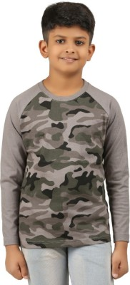 Clifton Boys Military Camouflage Cotton T Shirt(Grey, Pack of 1)