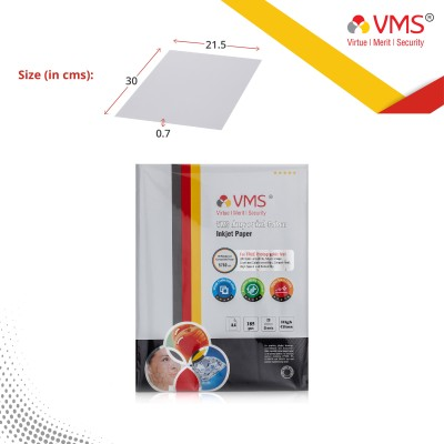 VMS Imperial Colour HighGlossy Inkjet Photo Paper A4 185 GSM (20 Sheets) Unruled A4 Inkjet Paper(Set of 1, White)