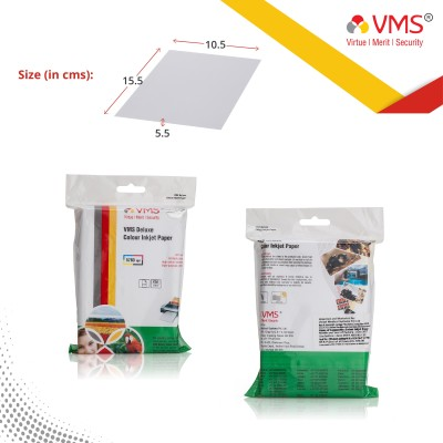 VMS Deluxe Colour High Glossy Inkjet Photo Paper 4R (4x6 inch) 210 GSM (100 Sheets) Unruled 4R Inkjet Paper(Set of 1, White)