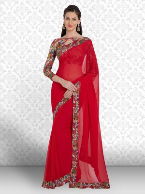 Divastri Floral Print Fashion Georgette Saree(Red)