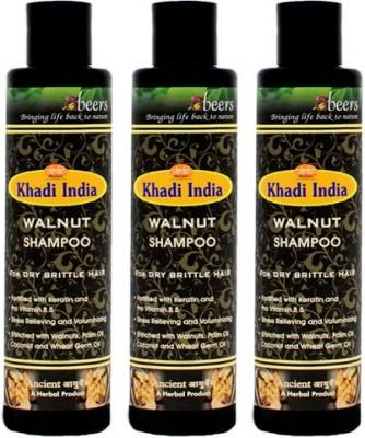 khadi abeers WALNUT SHAMPOO - PACK OF 3 PCS(225 ml)