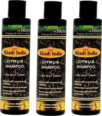khadi abeers CITRUS SHAMPOO - PACK OF 3 PCS(225 ml)