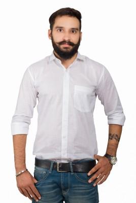LeebaZone Men's Solid Casual White Shirt