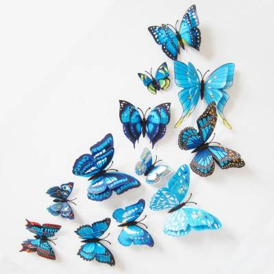 HE Retail Supplies Medium 3D Blue Butterfly Wall stickers Sticker