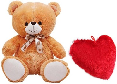 DMGC Soft Teddy Combo Of Stuffed Spongy Hugable Cute Teddy Bear Brown Color 58 CM & Soft Heart Pillow 24 CM For Someone Special Red Color  - 58 cm(Multicolor)  available at flipkart for Rs.548