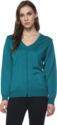 Modeve Solid V-neck Casual Women Green Sweater