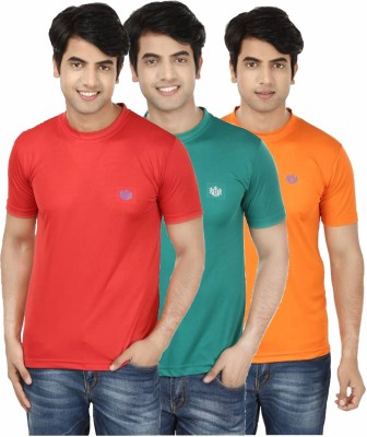 French Circle Solid Men's Round Neck Red, Green, Orange T-Shirt(Pack of 3)