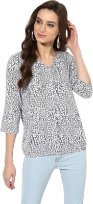 AHIKA Casual 3/4 Sleeve Polka Print Women White, Black Top AHIKA Women's Tops