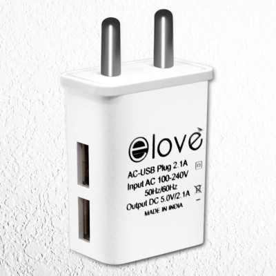 elove 2.1 Amp Dual USB Port Wall Charger Adapter 1 A Multiport Mobile Charger White elove Wall Chargers
