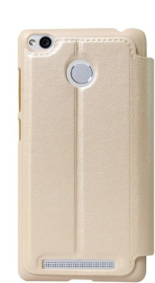 Coverage Flip Cover for Mi Redmi 3S Prime Gold
