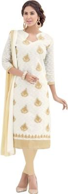 EthnicJunction Cotton Embroidered Salwar Suit Dupatta Material(Un-stitched)