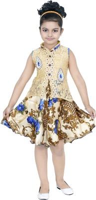 STYLOKIDS Girls Midi/Knee Length Party Dress(Beige, Sleeveless)