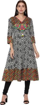 AEINDRI Women Embroidered Anarkali Kurta(Green)