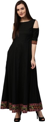 Nayo Women Solid, Embroidered Anarkali Kurta(Black)