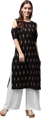 Nayo Women Printed Straight Kurta(Black)