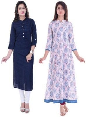 Stylum Casual Self Design Women Kurti(Pack of 2, Dark Blue, White)