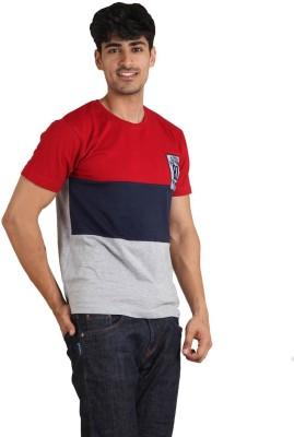 Jazzy Vogue Solid Men's Round Neck Multicolor T-Shirt