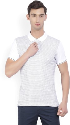 Arrow New York Printed Men's Polo Neck White, Grey T-Shirt
