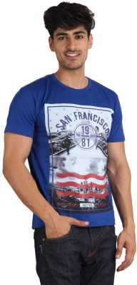 Jazzy Vogue Printed Men's Round Neck Blue T-Shirt