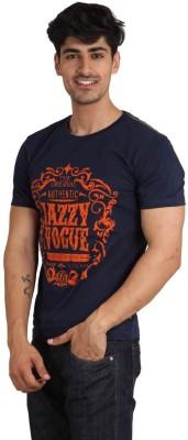 Jazzy Vogue Printed Men's Round Neck Dark Blue T-Shirt