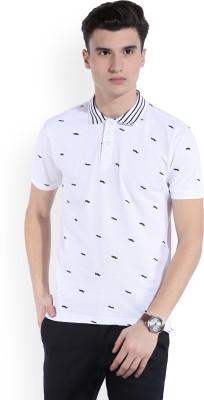 Indigo Nation Printed Men's Polo Neck White T-Shirt