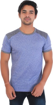 Styleinsta Self Design Men Round Neck Blue, Grey T-Shirt