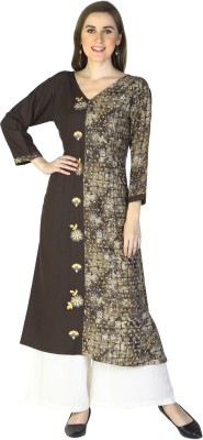 Shiloh Embroidered, Printed, Self Design Women A-line Kurta(Brown)