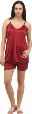 Klamotten Women Solid Maroon Top & Shorts Set
