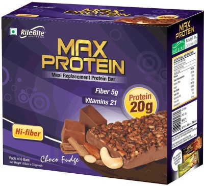 RiteBite Max Protein Meal replacement Protein Bars(450 g, Choco Fudge)
