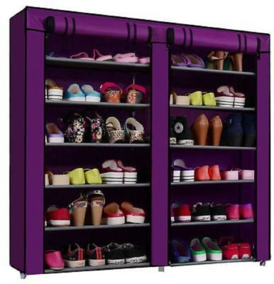 Online World Folding Shoe Rack 12 layers(Multi-color) Plastic Collapsible Shoe Stand(Purple, 12...