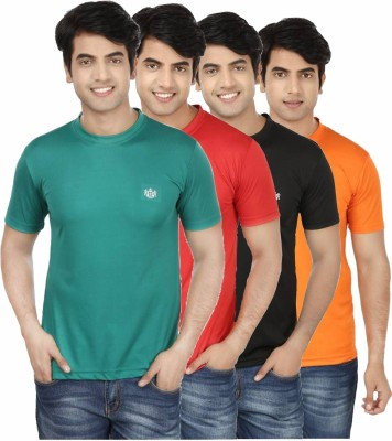 French Circle Solid Men's Round Neck Green, Red, Black, Orange T-Shirt(Pack of 4)