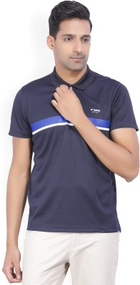 United Colors of Benetton Solid Men Polo Neck Dark Blue T-Shirt