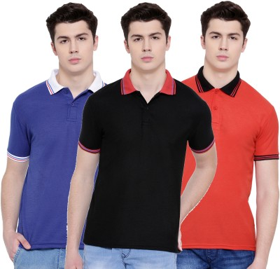 TSX Solid Men Polo Neck Multicolor T-Shirt(Pack of 3)