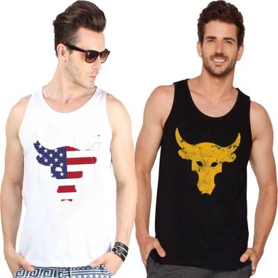 Veirdo Printed Men Round Neck White, Black, Yellow T Shirt